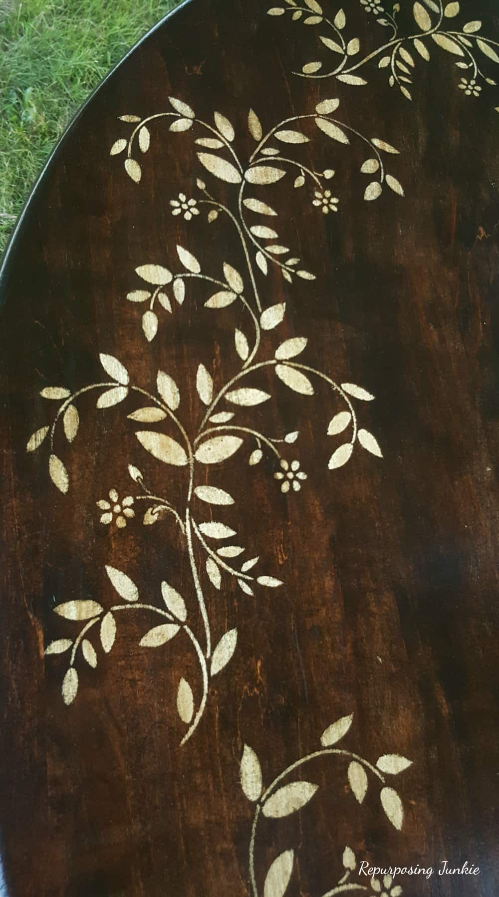 Kitchen Table Stained and Stenciled