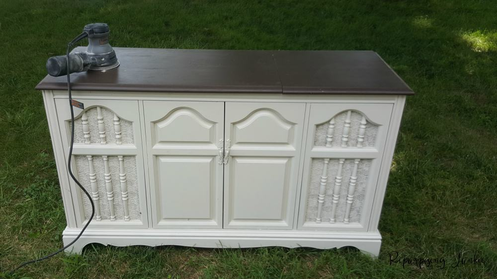Stereo cabinet refinished to give a vintage piece a beautiful makeover