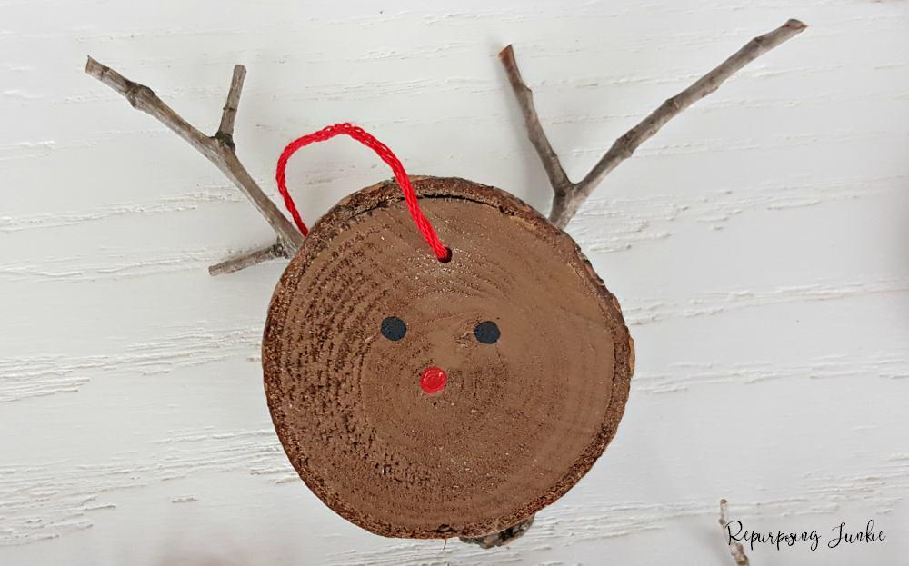 Wood Slice Reindeer Ornaments