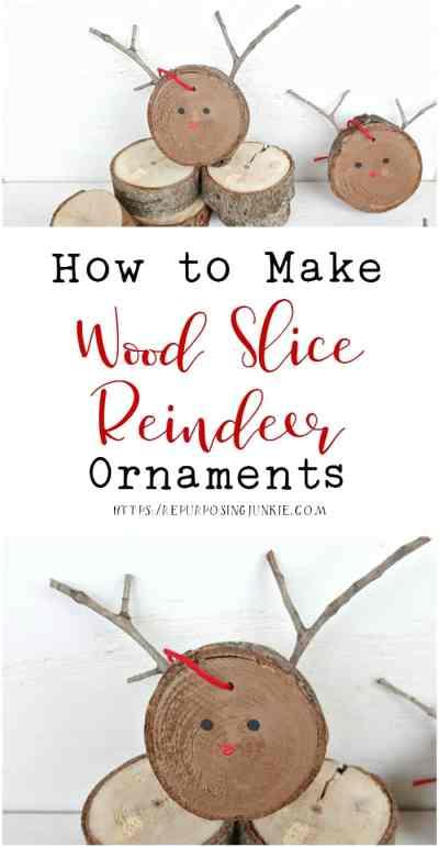 How to Make Wood Slice Reindeer Ornaments