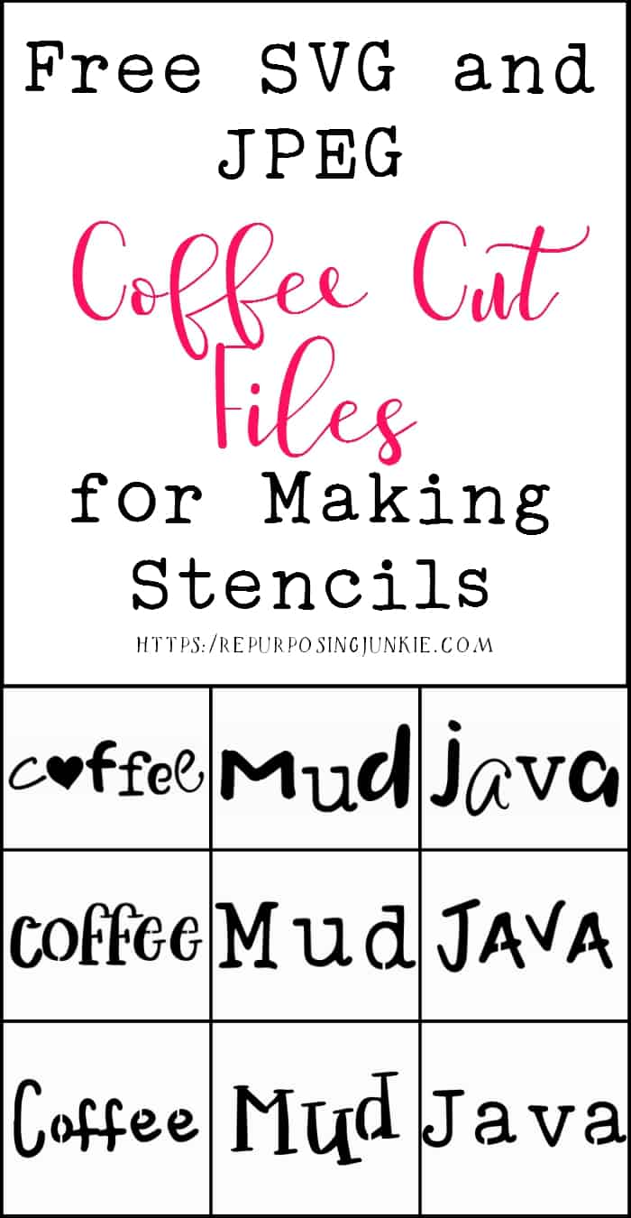 Free Coffee Words SVG and JPEG Cut Files for Making Stencils