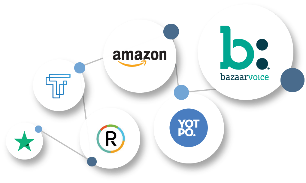 Consumer review channel logos as connected nodes. Illustration.