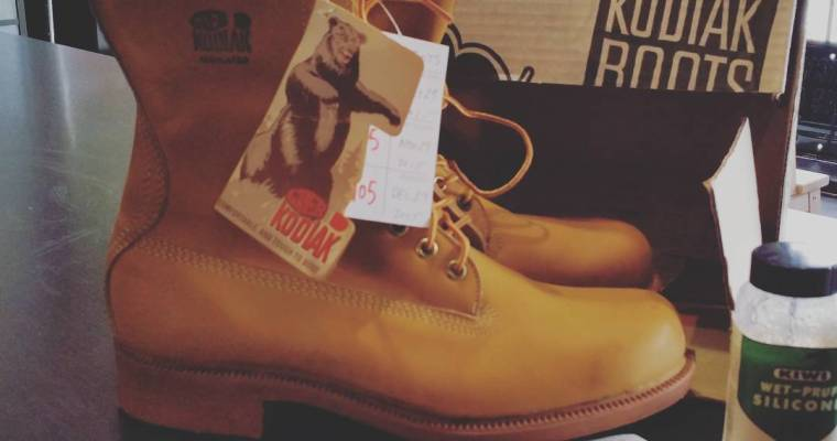 #kodiak #greb #vintage #deadstock boots from the late 60s or early 70's. In time-machine condition, with box, original receipt, and original bottle of waterproofing.  #rerides