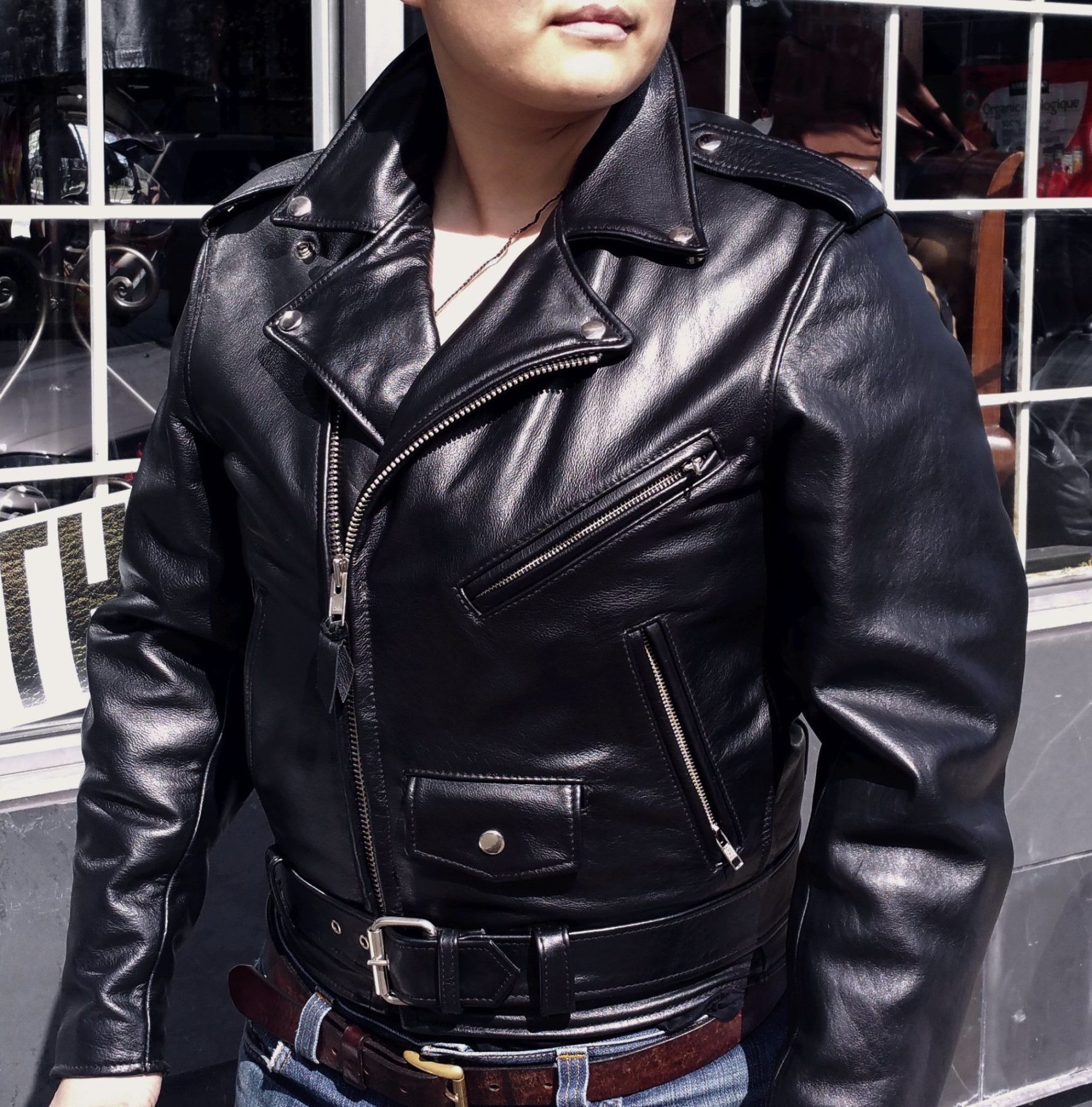 We had two. Now we have one left. Johnsons leather classic biker jackets