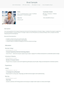 Brad Sample Online Resume