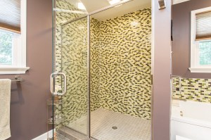 Massive Mosaic Tiled Shower with Glass Doors