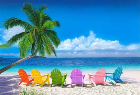 beautiful beach with colored lounge chairs facing oceanfront