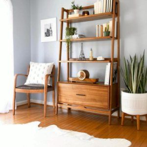 mid-century bookshelf in acorn wood by west elm