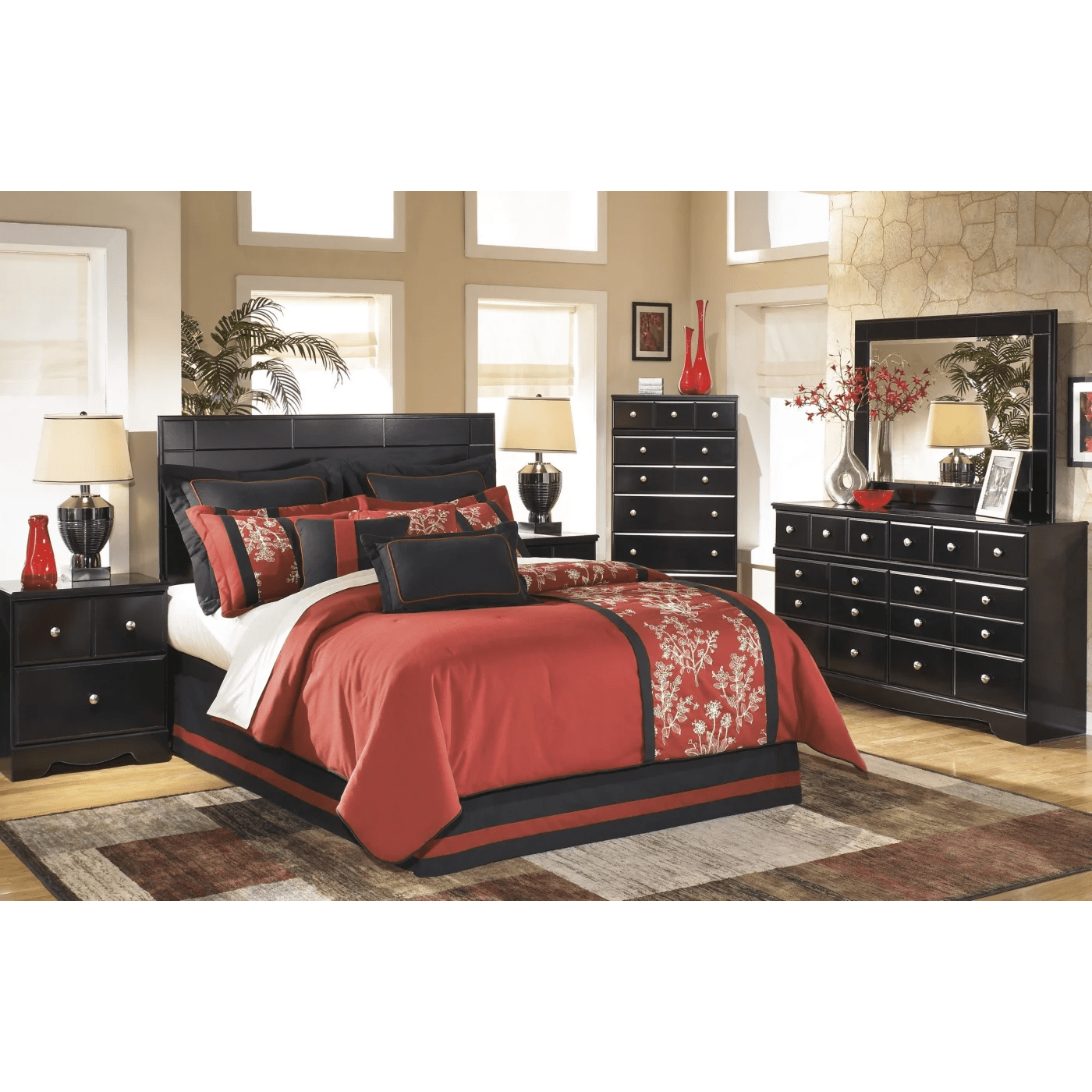Signature Design By Ashley Shay Almost Black 4 Piece Queen Panel Bedroom Set Amp Reviews