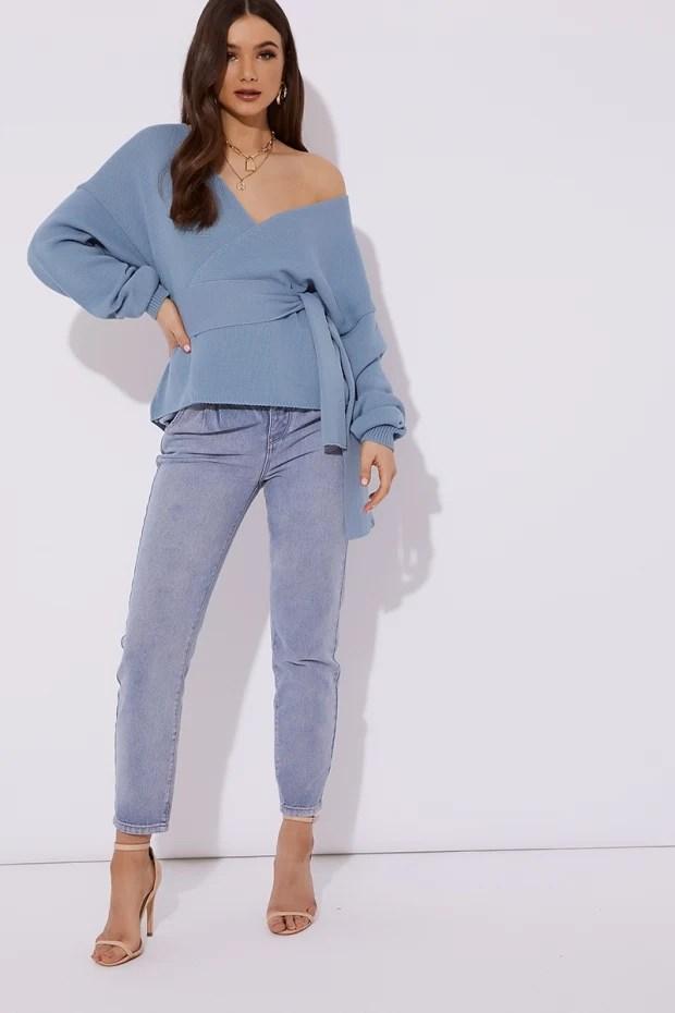 Blue Wrap Cardigan