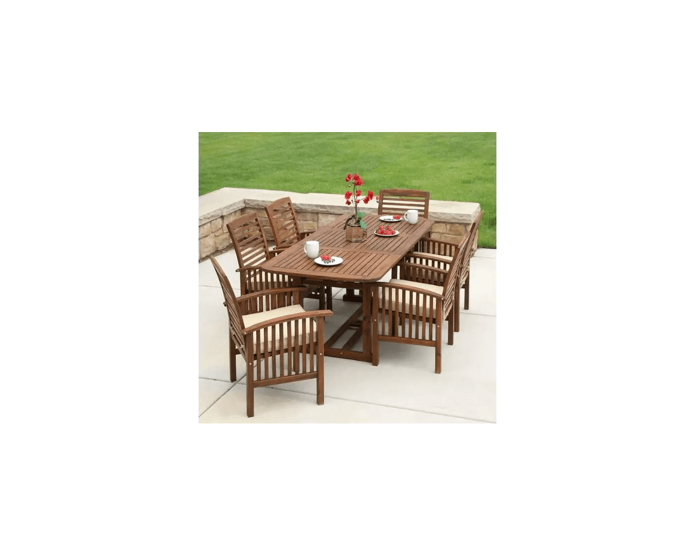 walker edison dark brown 7 piece acacia wood outdoor patio dining set with cushions ow7sdb goedekers com