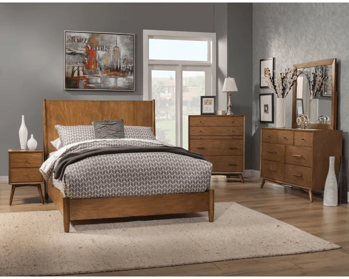 alpine flynn acorn mid century modern california king 5 piece bedroom set 966 07ck 966 02 966 03 966 05 966 06 goedekers com