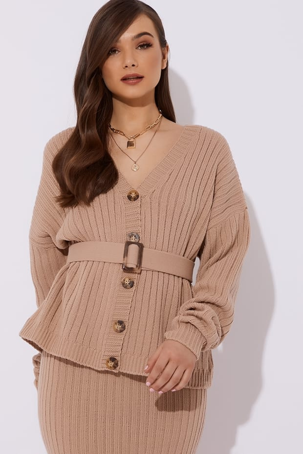 Ribbed Belted Stone Cardigan