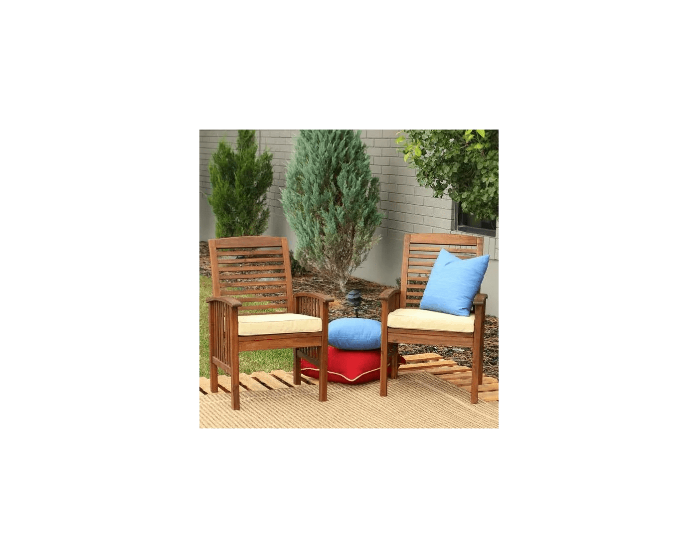 dark brown acacia wood outdoor patio chairs with cushions set of 2