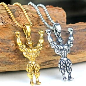 Accessories   Unique Gifts Muscle man bodybuilder silver pendant