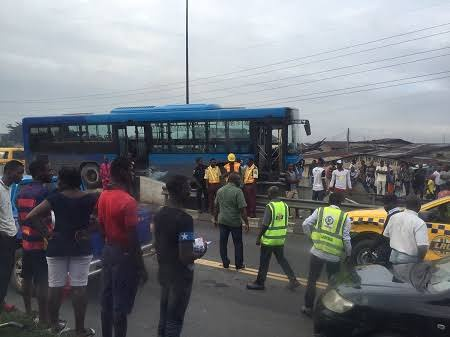 Sad as BRT Bus Killed 3 at Iyanu-Ipaja Area of Lagos this Morning.