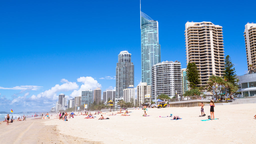 People on the beach at Surfers Paradise