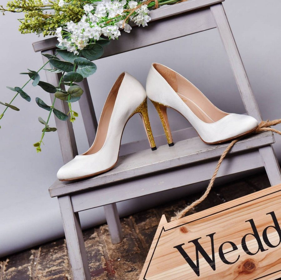 20ceebc8adf8 Mayfair White Satin Bridal Shoes. After scoring the best dress
