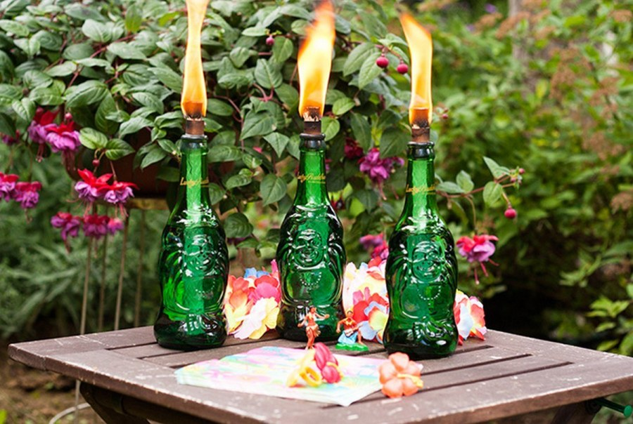 A tiki torch is traditionally a bamboo torch that originated in Tiki culture but increased in popularity and spread to other places where it is a popular party decoration and can create a tropical island aesthetic to outdoor decorations.