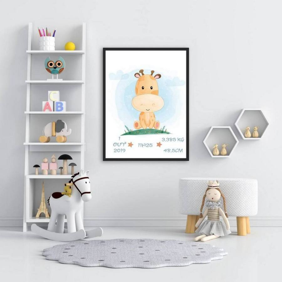 Giraffes are such regal animals, with a grand presence and beautiful markings in a subdued color palette that's perfect for a boy or girl nursery.