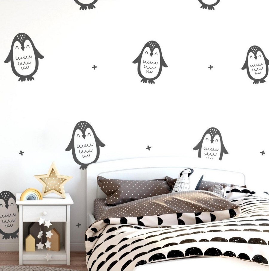 It seems that we turned out on the rookery of penguins in Antarctica. But it isn't entirely true, as we are only in a kid's bedroom made in penguins theme. Staying in this room isn't cold, and very cozy because of plenty of stuffed toys living together with an owner here.