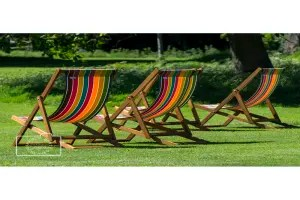 Deckchairs in the sunshine greetings card linking to Etsy store to buy