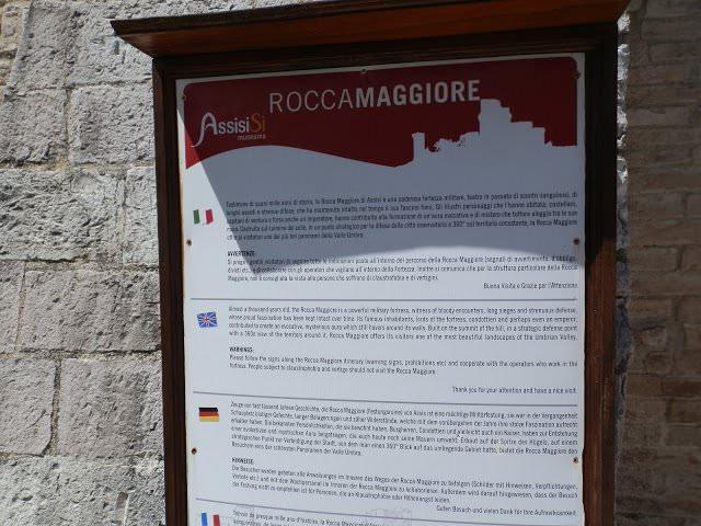 Rocca Maggiore ad Assisi,indicazioni