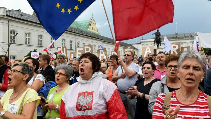 Poland. Peaceful protesters
