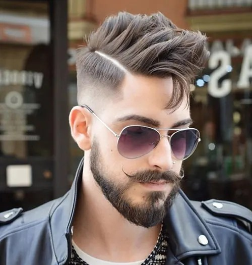 Tapered Faded Beard with Handlebar Mustache
