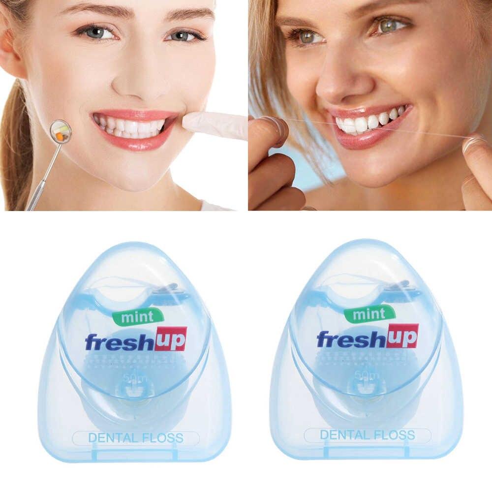 1PC 50m Dental Floss Oral Hygiene Teeth Cleaning Dental Floss Spool Toothpick Teeth Oral Care Tooth Clean Drop Ship