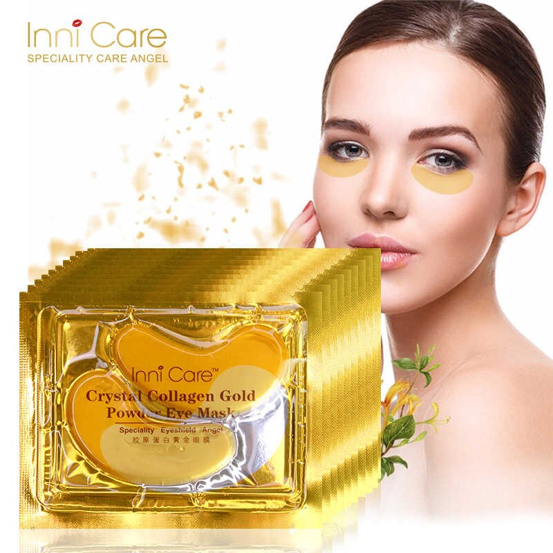 20Pcs=10Pairs 24k Gold Crystal Collagen Eye Mask Anti Aging/Dark Circles/Puffiness Moisturizing Eye Masks Colageno Gel Eye Pads