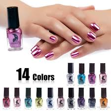 Fashion Mirror Nail Polish Silver Transparent Purple Rose Gold Color 6ML Long-Lasting Nail Polish Girl Cute Nail Decoration Tool