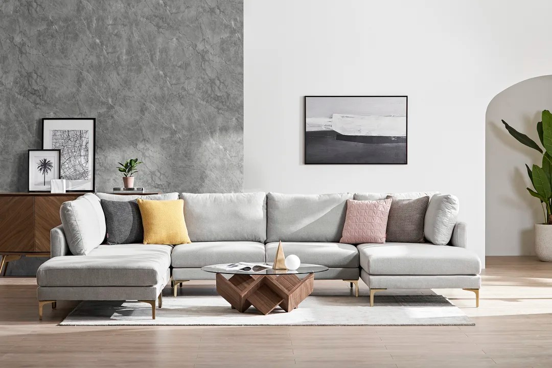adams u shape sectional sofa with