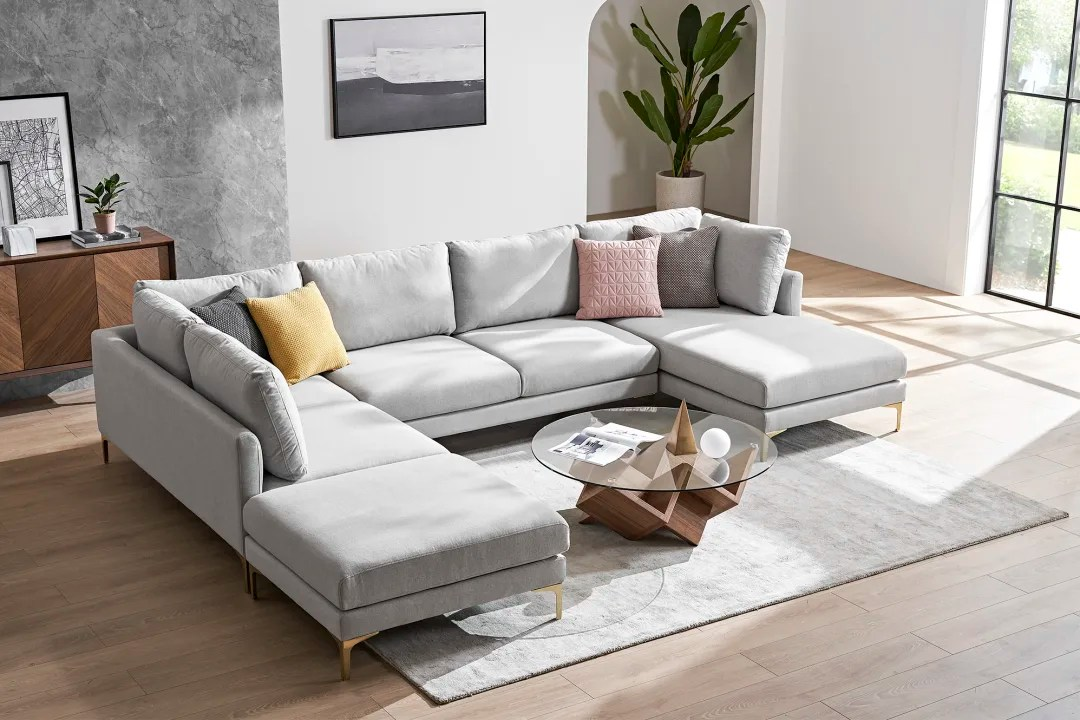 adams u shape sectional sofa with