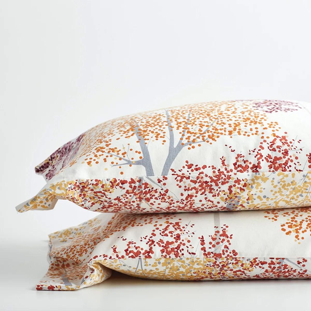 company cotton autumn tree flannel pillowcases