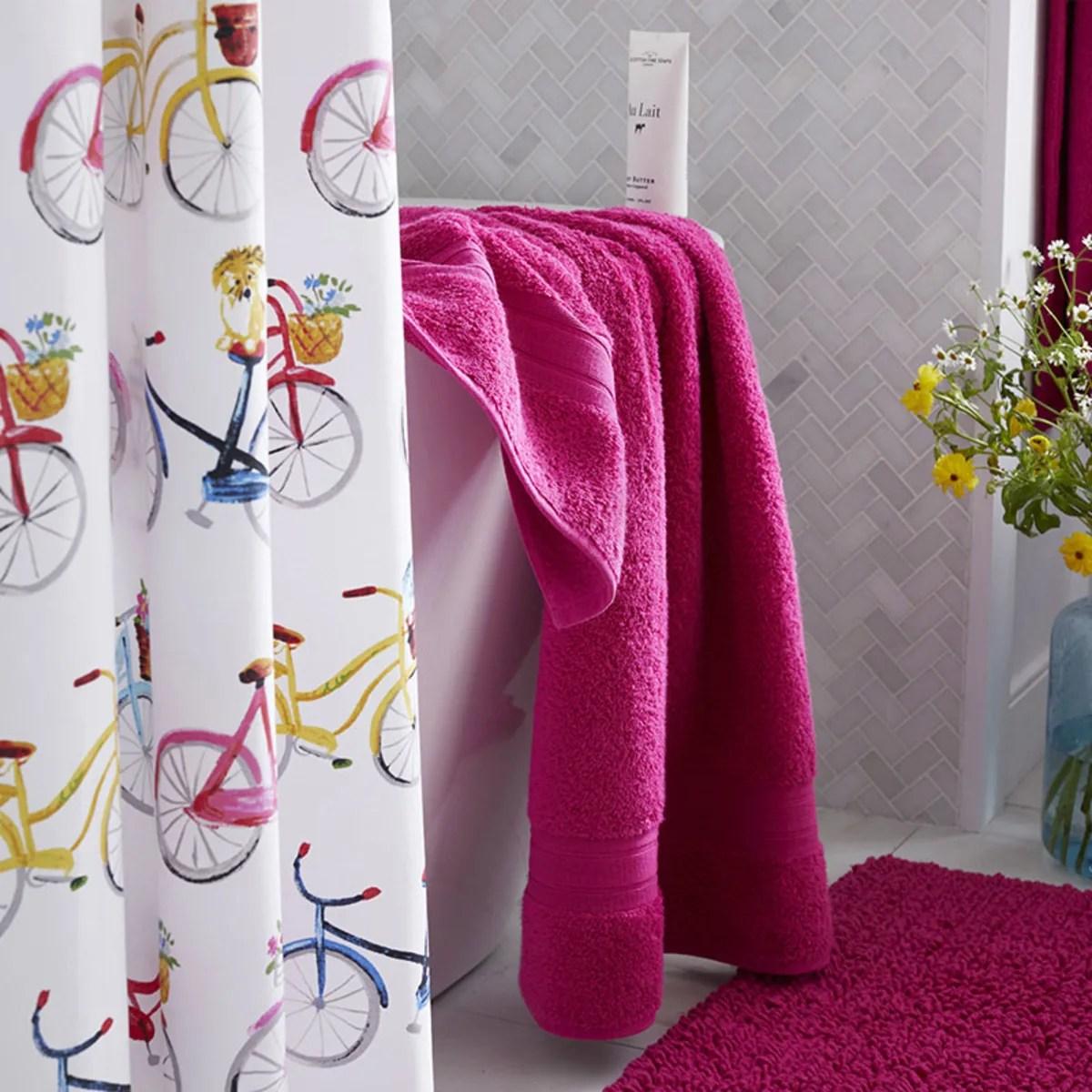 company cotton bike ride percale shower curtain multi