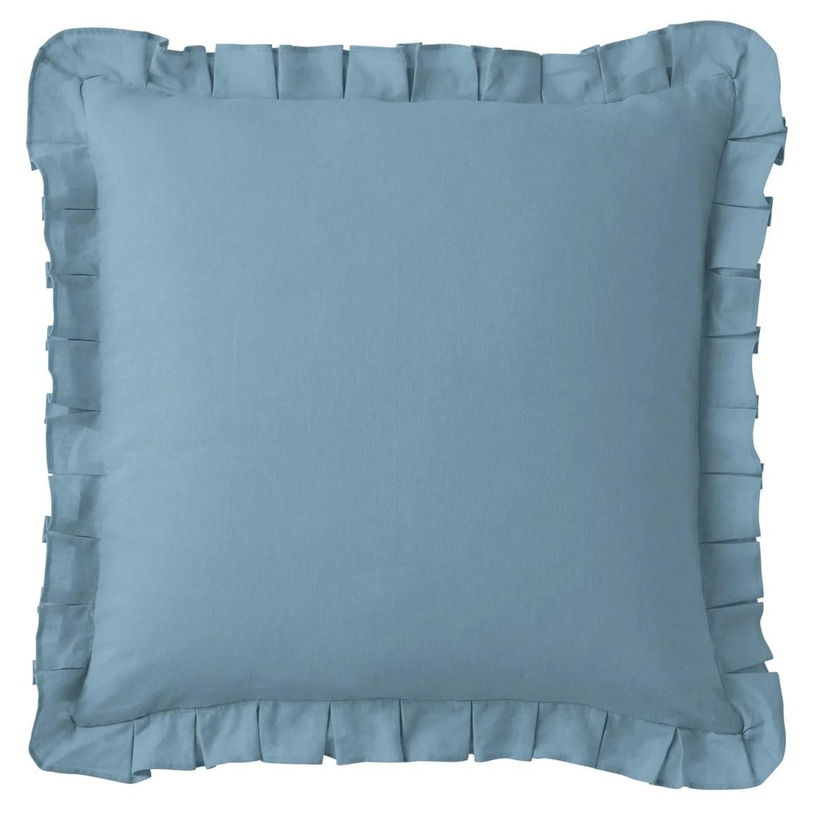 linen cotton 20 in square pillow cover blue smoke