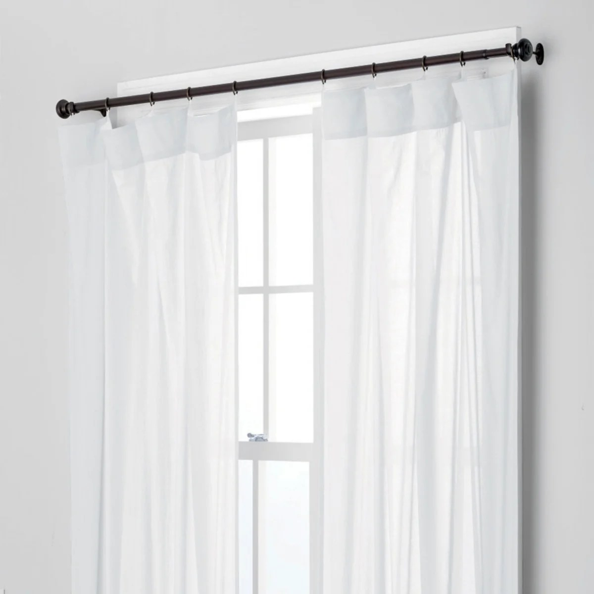 chambray voile yarn dyed ring top window curtain white