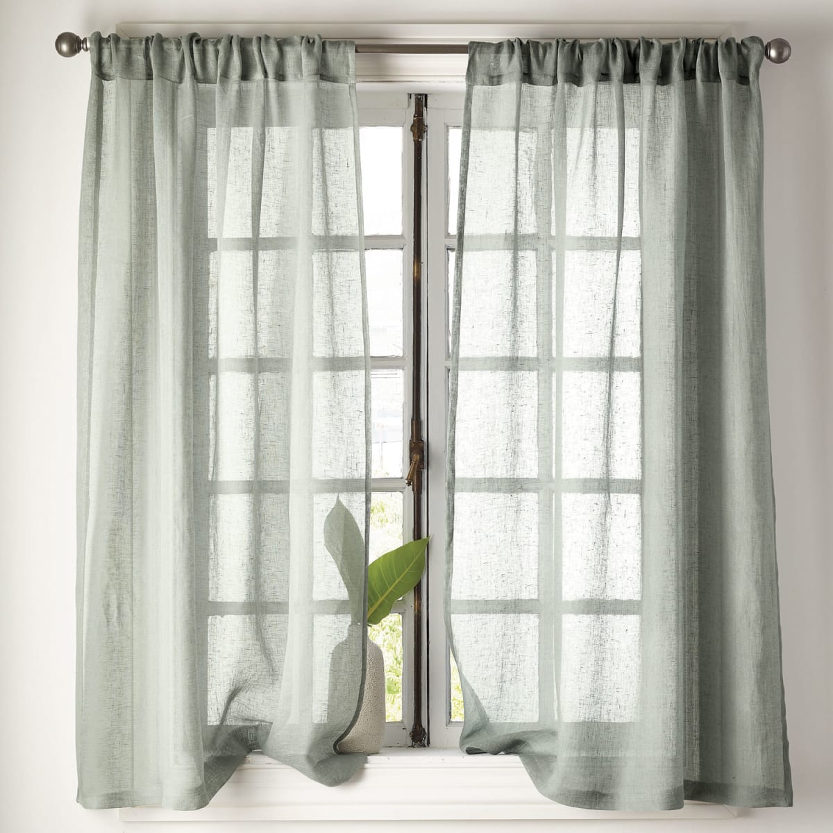 sheer linen window curtain