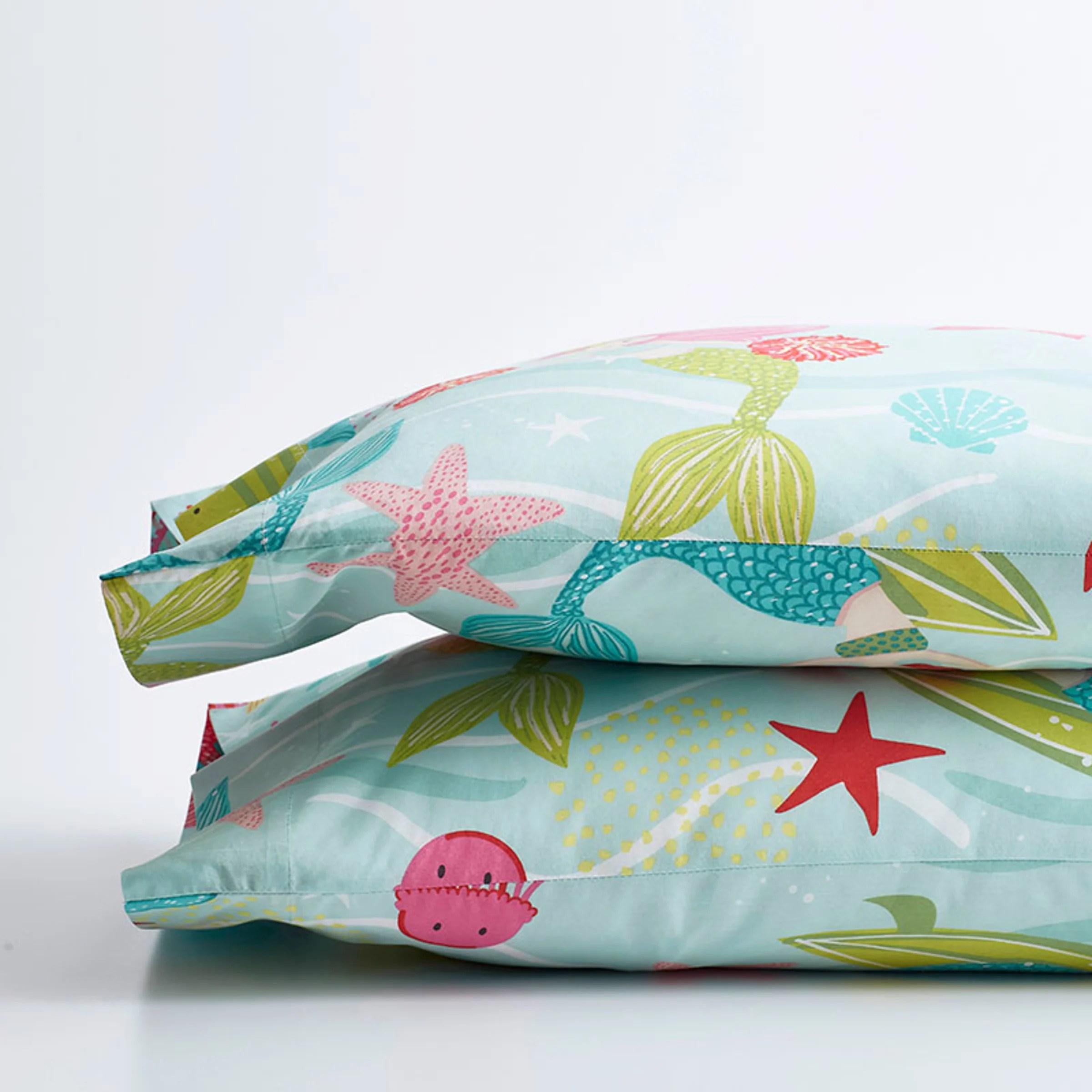 company kids ocean mermaid organic cotton percale pillowcases multi