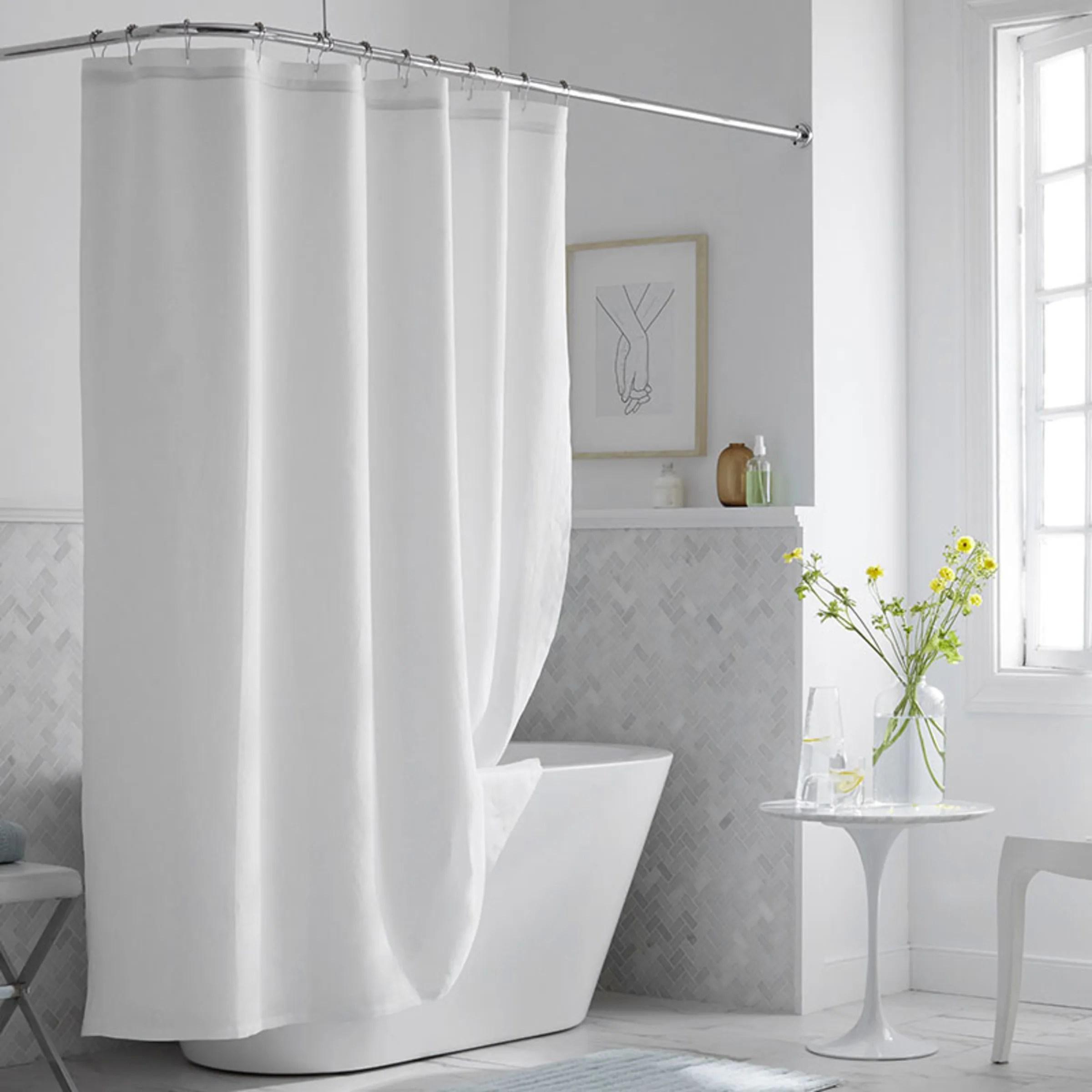 legends hotel relaxed linen shower curtain white