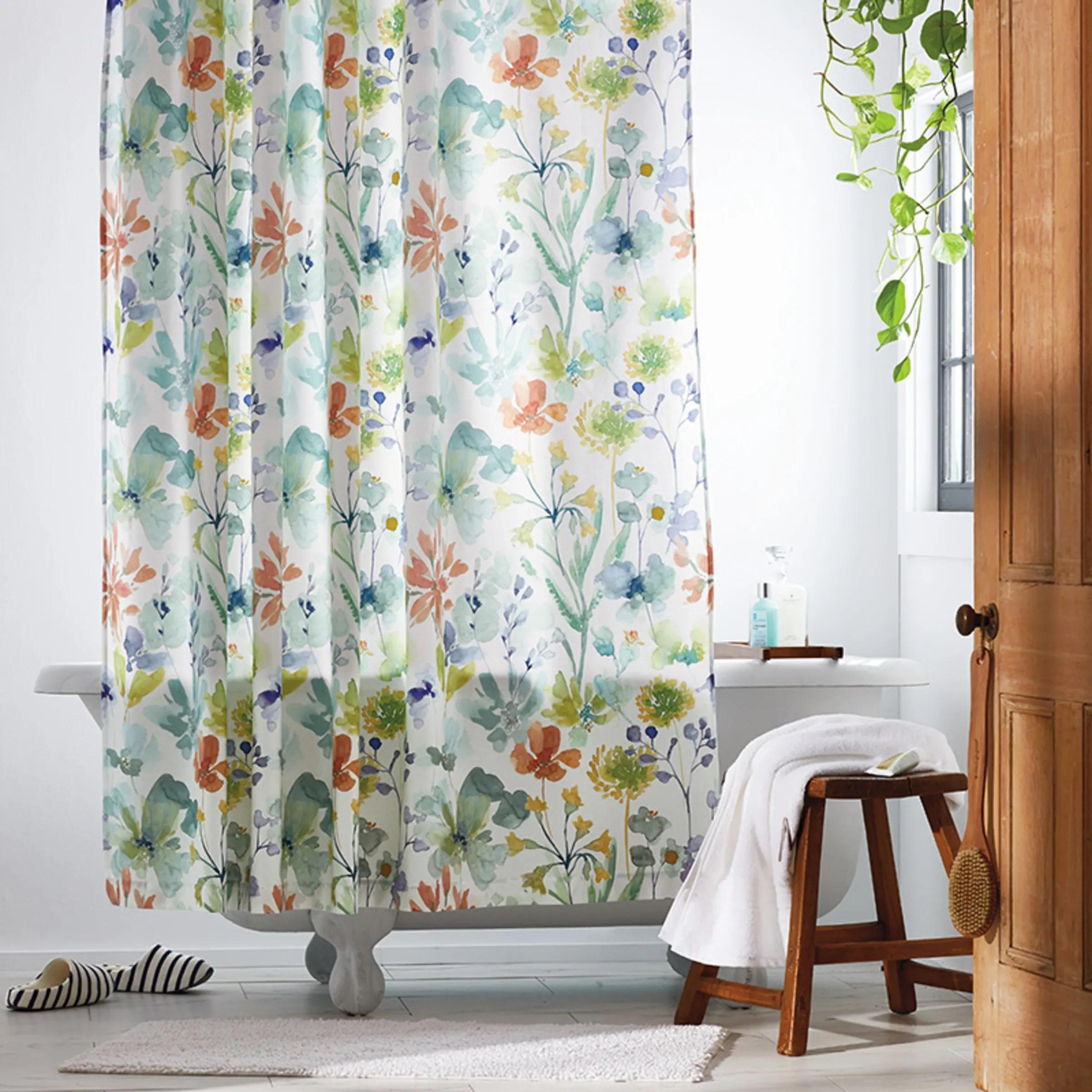 botanical bloom sateen shower curtain