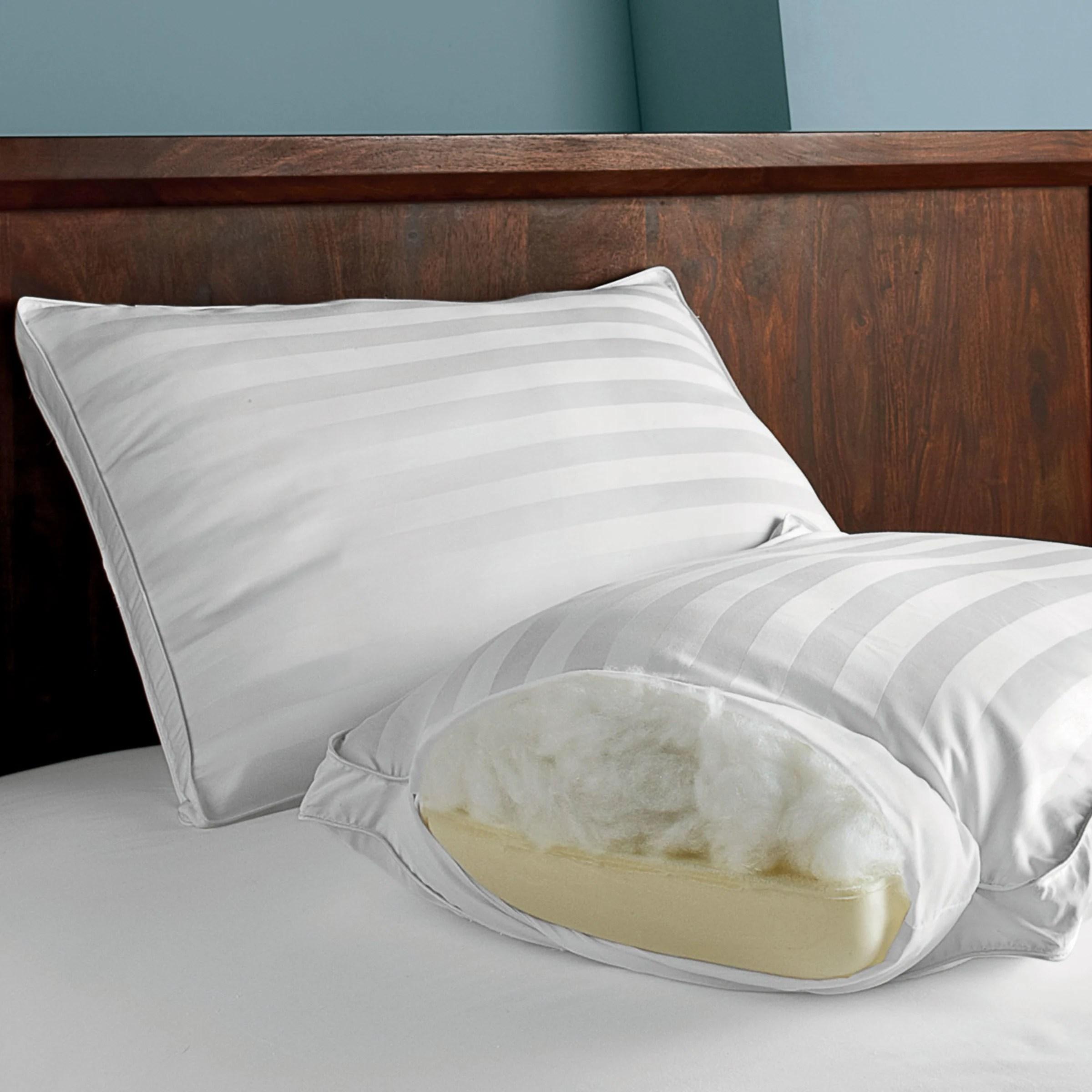 dual memory foam and gel fiber pillow white