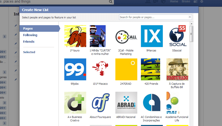 Personalizar Lista do Facebook