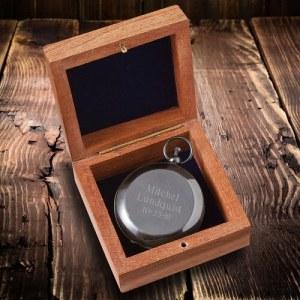Personalized High Polish Gunmetal Keepsake Compass with Wooden Box