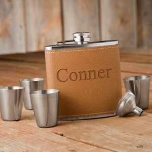 Personalized Flask & Shot Glass Gift Box Set.