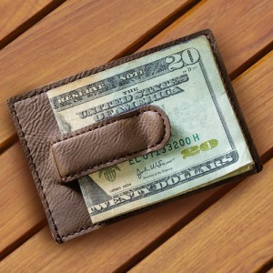 Dark Brown Leatherette Money Clip Wallet
