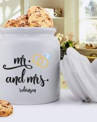 Personalized Mr. & Mrs. Wedding Ring Cookie Jar