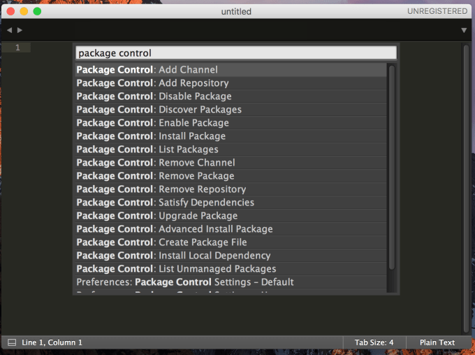 Sublime Text 3 Package Control