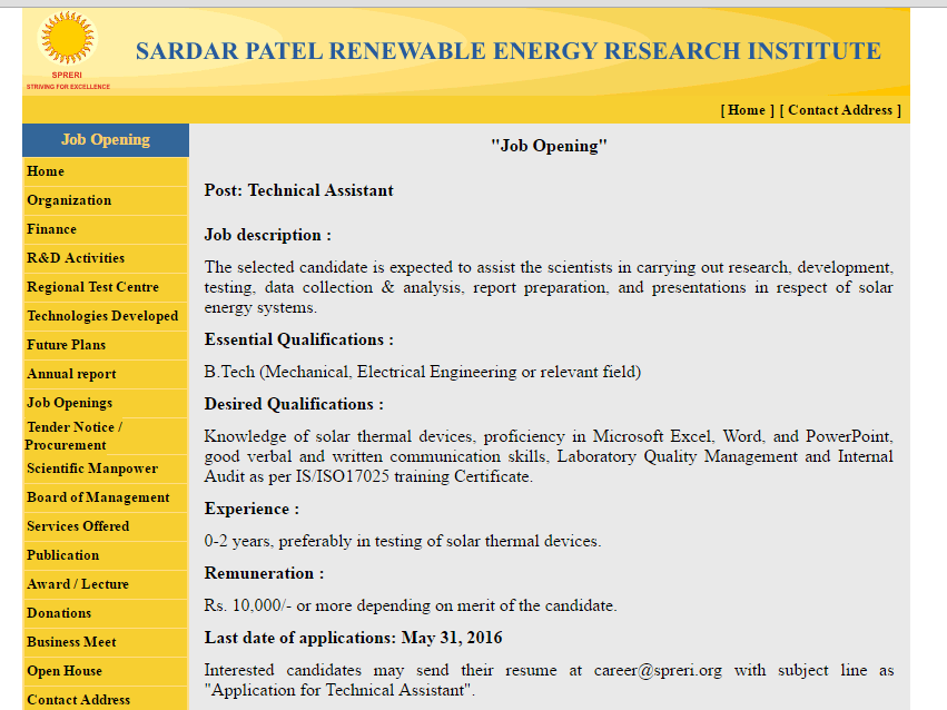 Sardar Patel Renewable Energy Research Institute (SPRERI) Technical Assistant